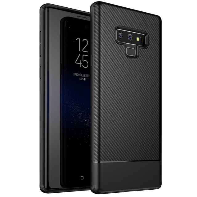 sale retailer 26f4d 4cec0 US $2.68 40% OFF|Note9 Business Black Luxury Carbon Fiber for Samsung  Galaxy Note 9 Case Hybrid Armor Coque for Samsung Galaxy Note 9 Case  Cover-in ...