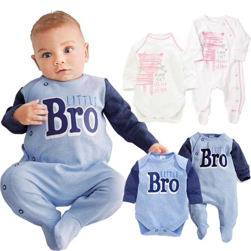 Wholesale Baby Boy Girl Clothing Bro Pink Cat 2 Pack Newborn 100% Cotton Long Sleeve Rompers Infant Bebe Autumn-Spring Clothes baby rompers infant cotton long sleeve baby clothing baby boy girl wear newborn bebe overall clothes