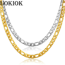 цена на 7mm Golden Figaro Link Chain Necklaces For Men Gold Silver Hip Hop Stainless Steel Rapper Necklace Male Jewelry