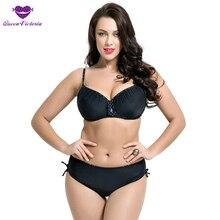 New Plus Size DEF Cup Mid Waist Bikini sets Underwire Push Up Retro Woman Swimwear Shoulder Belt Back Closure Fast shipping