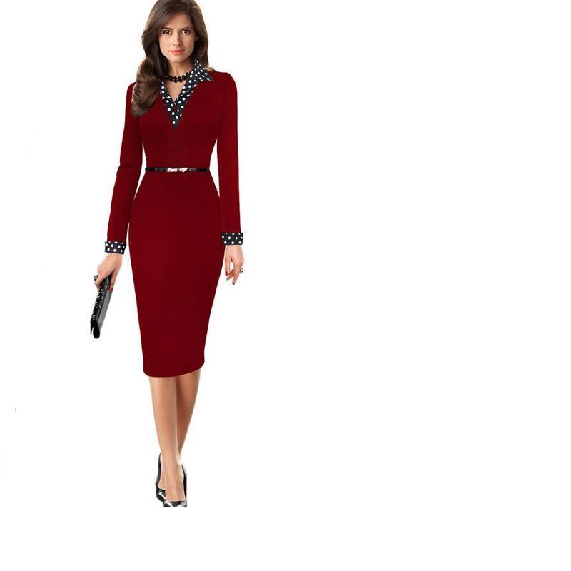 Elegant Retro Clothes Summer Knee Dress Full Set Cuff Collar V Collar Collar  Business Sheath Pencil. US  19.98. Plus Size Front Button Women Work ... 429e57af8dc8