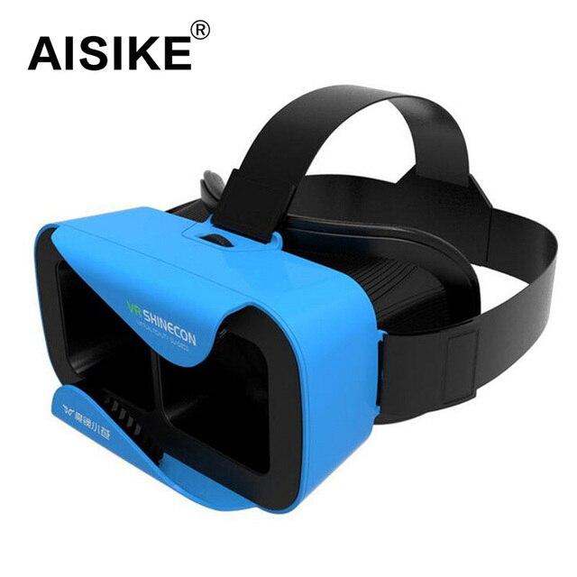 "VR Shinecon III Head-Mount Cardboard Virtual Reality Glasses Mobile 3D Video Movie Glasses 3 D VR Helmet Park for 4.7-6.0"" Phone"