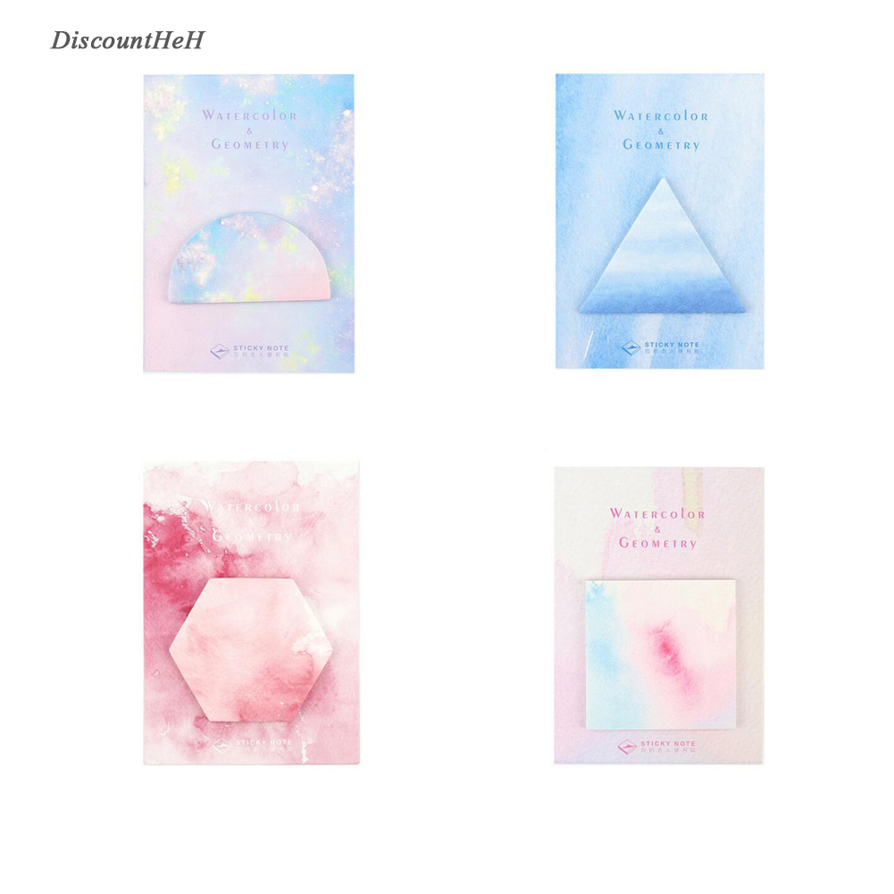 Fantastic Watercolor Geometric Self-Adhesive Memo Pad Sticky Notes Post It Bookmark School Office Supply