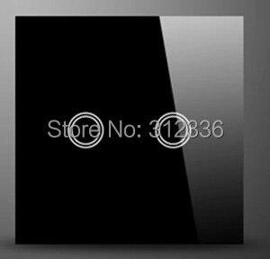Livraison gratuite ROYAUME-UNI 86 MM interrupteur mural tactile En Verre interrupteur panneau 2 gang 2 voies Deux sur Double contrôle la trempe du verre épaisseur est 4mm