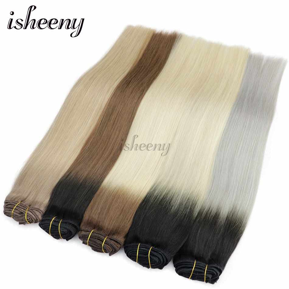 "Isheeny 12""-20"" Remy clip In Human Hair Straight 8pcs/set Seamless Natural Clip Extensions Brazilian Pure Color"