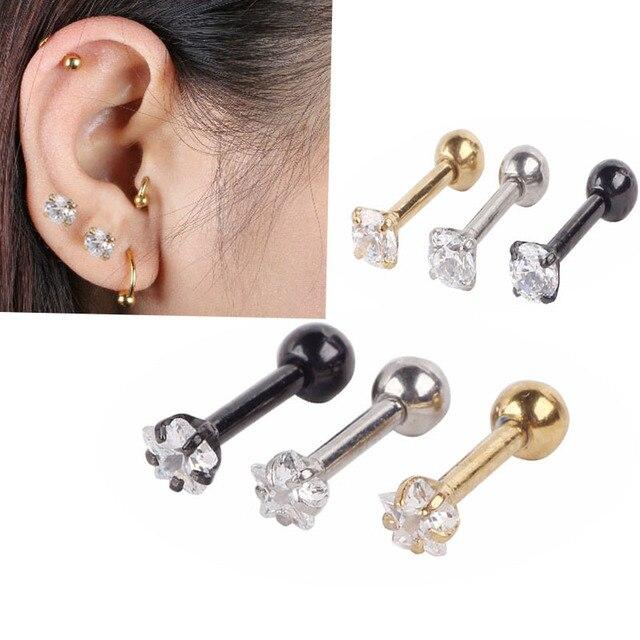 Ls 1 Pair Surgical Steel Piercing Crystal Ear Studs Fashion Stud Jewelry Accessory Single Gem
