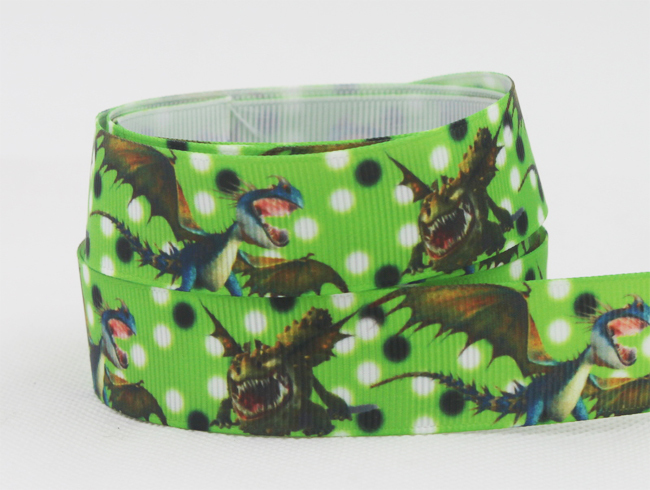 10yard 7/8(22mm) How to Train Your Dragon 2 Printed Grosgrain Ribbons,Hiccup And Night Fury Cartoon ribbo DIY Bow Craft 10Y1070