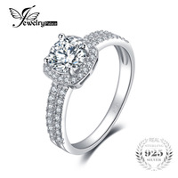 JewelryPalace Halo 1 1ct Round Cubic Zirconia Engagement Promise Ring Genuine 925 Sterling Silver Ring For