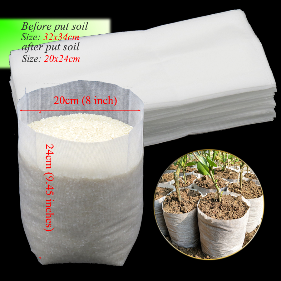 50PCS 32x34cm Nonwovens Fabrics Nursery Pots Plant Seedling Growing Grow Bags Home Garden Raising Nursery Bags Biodegradable