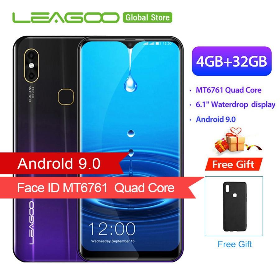 "LEAGOO M13 4GB RAM 32GB ROM Mobile Phone Android 9.0 6.1"" Waterdrop Screen MTK6761 Quad Core Fingerprint Face ID 4G Smartphone"