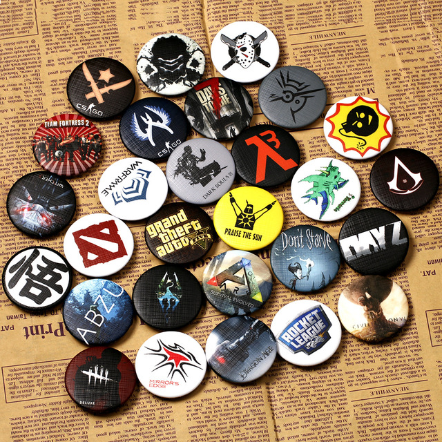 29 types CSGO Pin DOTA BUTTONS Badges Skyrim Brooches School Bag Badge AC Game C
