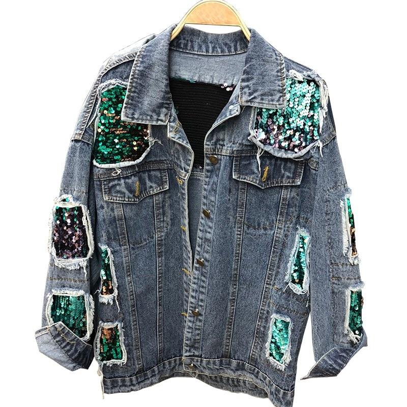 Autumn Women Casual Denim Sequin   Jackets   Fashion Long Sleeve Holes   Basic     Jacket   Loose Vintage Patchwork Jeans   Jacket