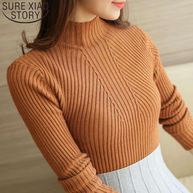Fashion Womens Sweaters 2019 Winter Turtleneck Pullovers Solid Long Sleeve White And Black Tops Sweaters Femme Clothing 5218 50