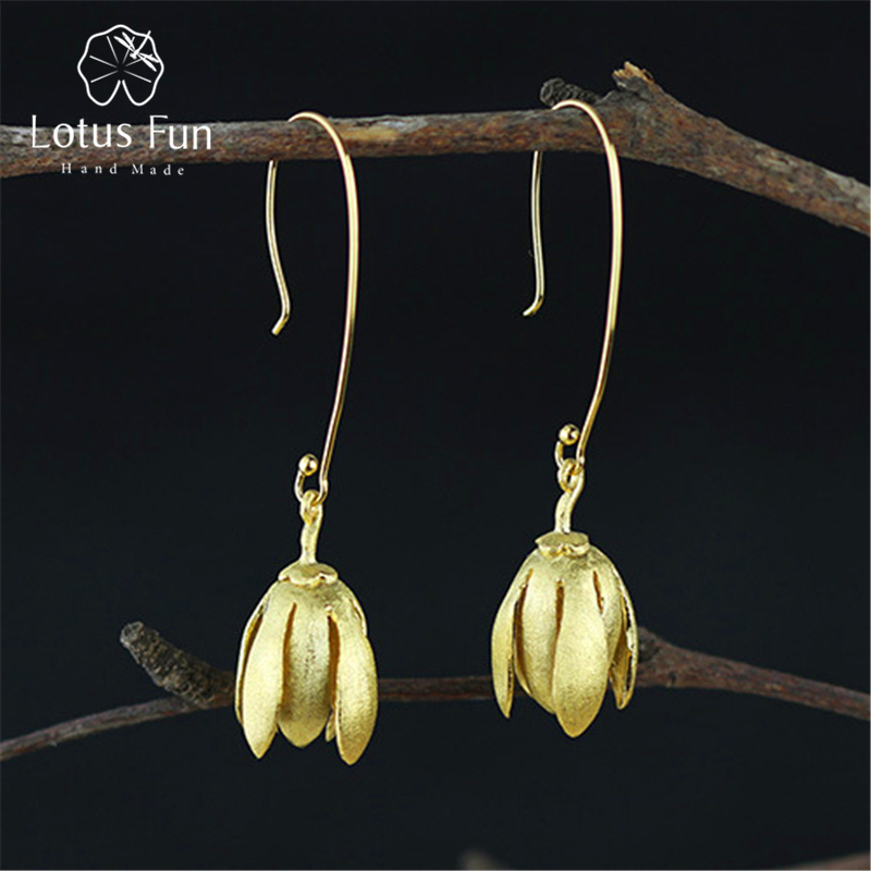Lotus Fun Real 925 Sterling Silver Natural Original Handmade Fine Jewelry Vintage Elegant Flowers Dangle Earrings
