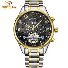 Binssaw новый 2017 топ люксовый бренд мужская автоматические механические часы с турбийоном моды бизнес спортивные часы из нержавеющей стали