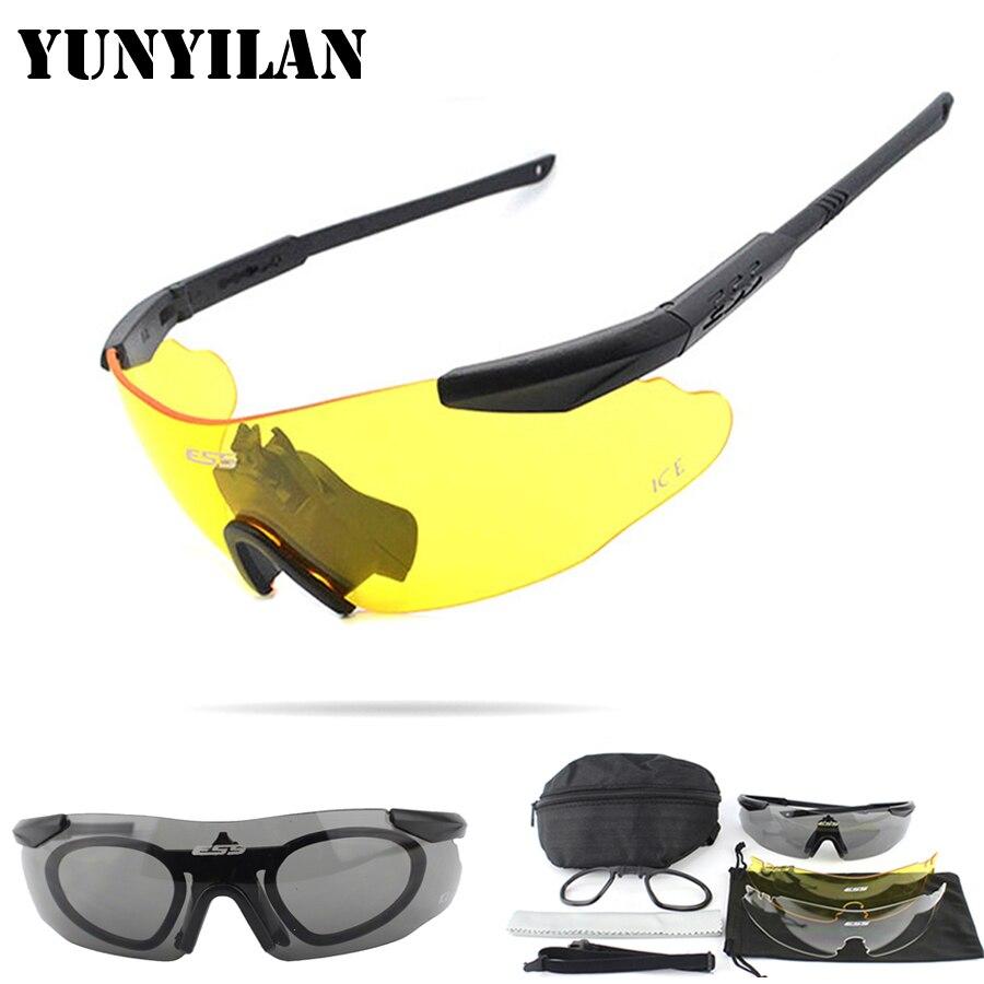 Prix pour ESS ICE Militaire lunettes de Soleil 3 Lentille Lunettes de Sécurité Tactique Armée Lunettes TR-90 Oculos Ciclismo Hommes Wargame Tir lunettes