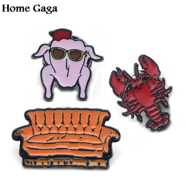 D0328 Homegaga New Arrival Tv Show Friends Sofa Pins Lobster Brooch For Sweater Pin Badges Gift