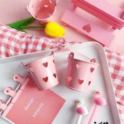 Милые Девушки Сердце Мини розовые настольные держатели канцелярские ведро хранения ручка держатель Мягкая Милая коробка для хранения спал...