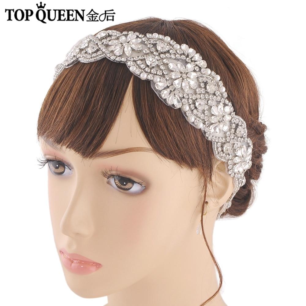 TOPQUEEN H161B Handmade Wedding Headband For Bridal Rhinestone Tiaras Hair Accessories For Evening Party Bridal Headpiece