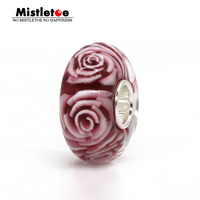 925 Sterling Silver Large Hole Pink 3D Flowers Rose Murano Glass Charm Bead Not Original Fit