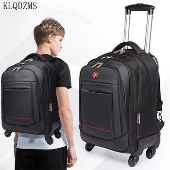 KLQDZMS 18 20 cal dużej pojemności torby na kółkach do laptopa wysokiej jakości wodoodporna podróży plecak na kółkach bagażu na kółkach tanie i dobre opinie Oxford As a description Spinner 34 32cm KLQDZMS-001 Unisex 48 58cm Walizka na kółkach 22 24cm