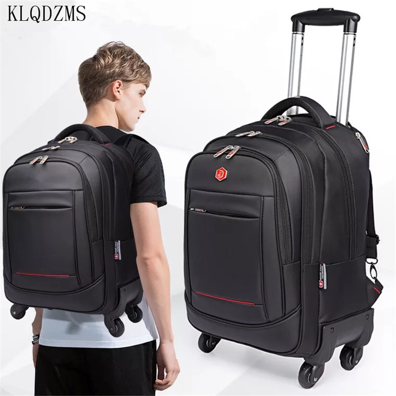 KLQDZMS 18/20inch Large Capacity Trolley Bags For Laptop High Quality Waterproof Travel Trolley Backpack Luggage Wheeled