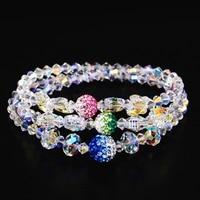 Top Quality Women Jewelry Romantic Elegant White Colorful Crystal Multilayer Beaded Bracelets Rhinestone Ball Charm Bracelets