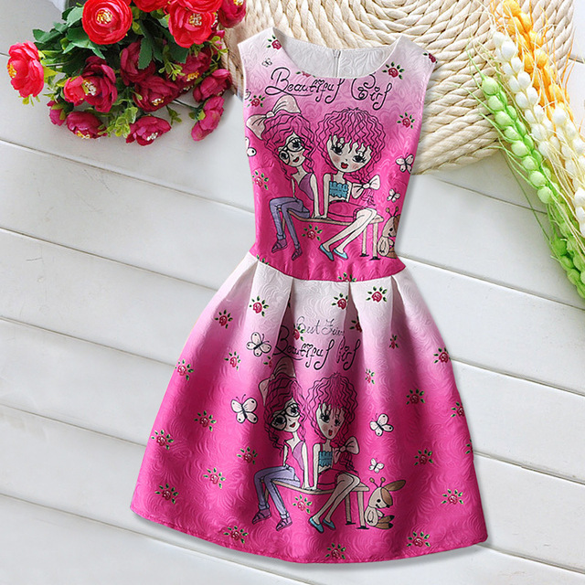 2017 Summer Cartoon Print Girls Dresses For Teens Sleeveless Cute Fashion  Kids Dresses For Girls Princess
