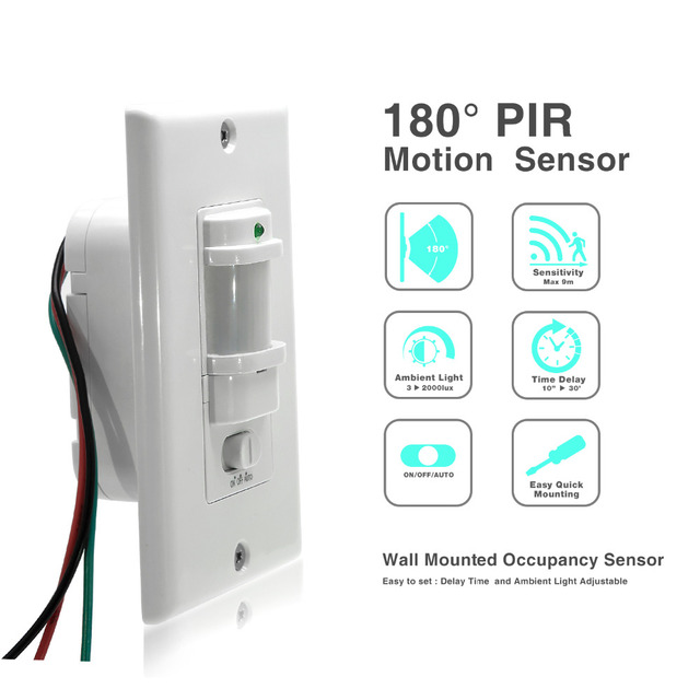 110V ~220V AC ON OFF Auto Wall Mount Motion Sensor Switch Automatic ...
