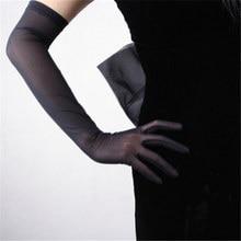 Women Gloves Elastic Lace Ultra-Thin Ultra Long Style Female Black Mesh Guaze Touch Screen Womens Mittens TB17-9