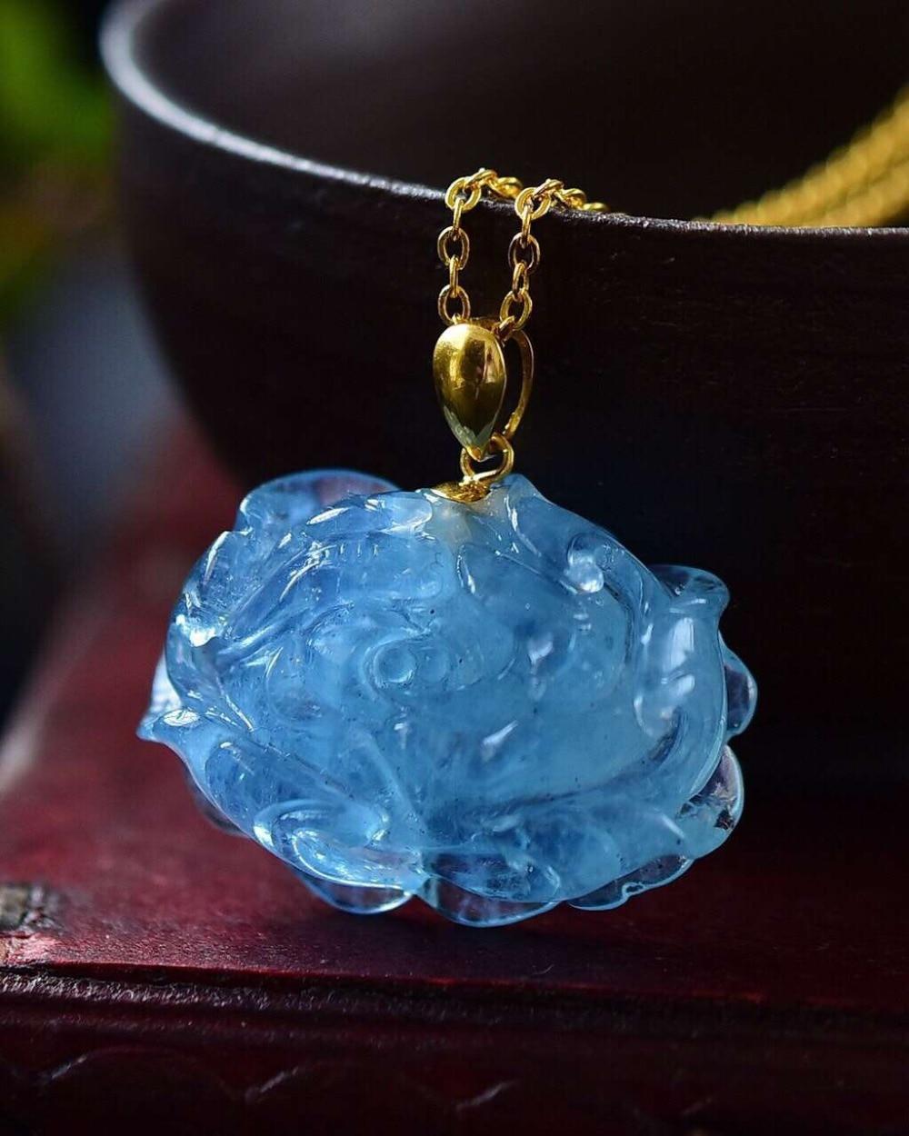 23x17x9mm Natürliche Aquamarin Blau Transparent Kristall Anhänger Mit Mode Ozean Halskette Für Frauen Aaaaa Drop Verschiffen GroßEr Ausverkauf Edler Schmuck Anhänger