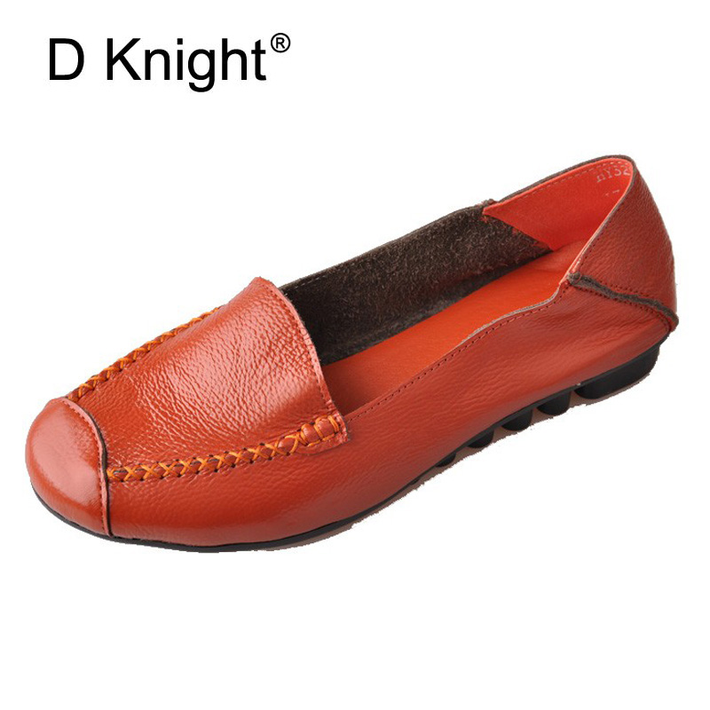 New Women Genuine Leather Flat Shoes Round Toe Slip-on Women Flats Ladies Casual Flat Shoes Comfortable Loafers Size 22--26.5 CM beautoday genuine leather crystal loafer shoes women round toe slip on casual shoes sheepskin leather flats 27038