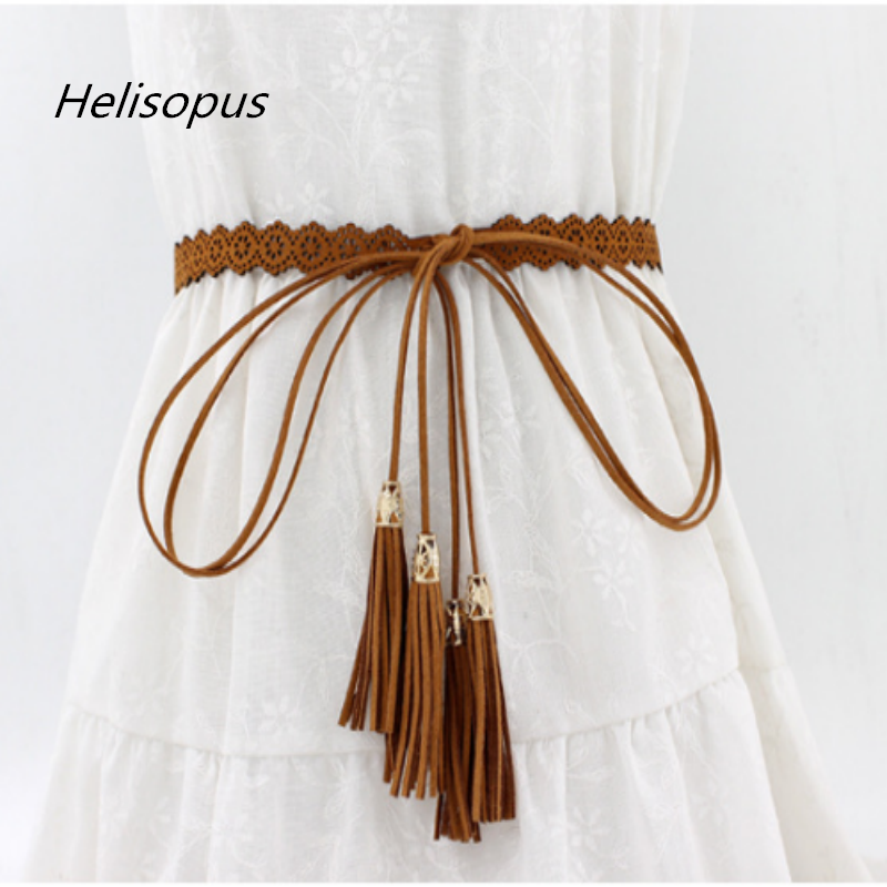 Helisopus New Ladies Belts Fashion National Style Hollow Tassel Tie Strap Waist Chain Women's Waistband Dress Accessories