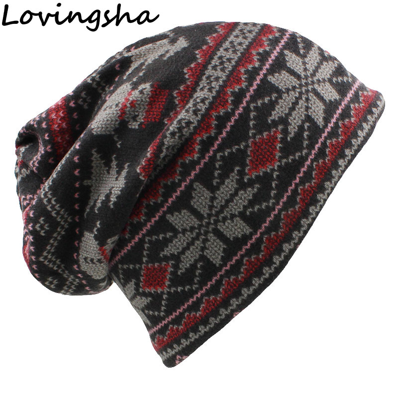 LOVINGSHA Autumn Winter Feminino Vintage Design Dual-use Women Hats   Skullies     Beanies   For Ladies Thin Girl Fashion Scarf HT066