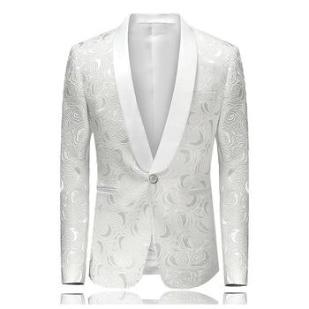 TANG 2019 Men Stylish Suit Jacket Blazer Slim Fit Masculino Abiti Uomo Botton Wedding Prom Blazers Single Button White for 4XL