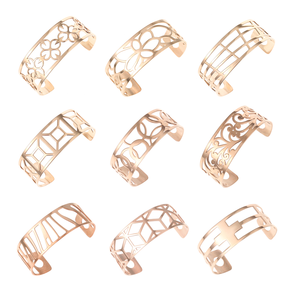Legenstar Bangles For Women Hollow Stainless Steel Rose Gold Cuff Bracelets&Bangles Bijoux Manchette Femme Bracelet Pulseiras cremo labyrinth bangles stainless steel bracelets femme bijoux manchette reversible 40mm wide maze leather bangle pulseiras