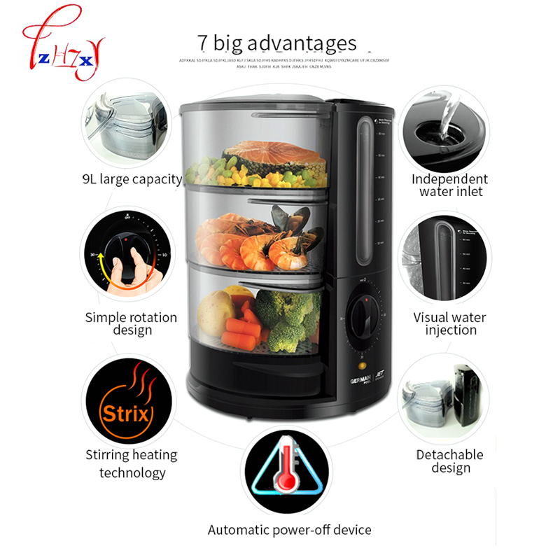 Multifunction Electric Steamer 3Layers 9L Cooking Steamers Food Vegetable Meat Egg rice Dish Basket Cooker Steamer JET-901 1 2l mini portable rice cooker auto multifunction cooking pot heating soup porridge steamer student noodles cooking machine