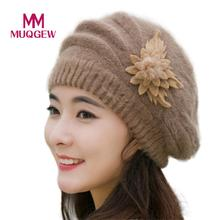 2018 Moda Feminina Flor Crochet Knit Beanie Chapéu de Inverno Quente Cap  Boinas Recentes Preto 6647f05552e