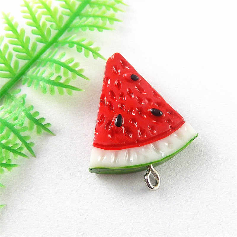 5pcs/lot Cute Fruit Watermelon Resin Necklace Pendant Charms 32*24mm Lovely Baby Jewelry Making Fine Accessories Crafts 51338