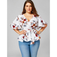 LANGSTAR Plus Size Floral Print Belted Peplum Shirt Women Clothing Sexy V Neck Flare Sleeve Beach