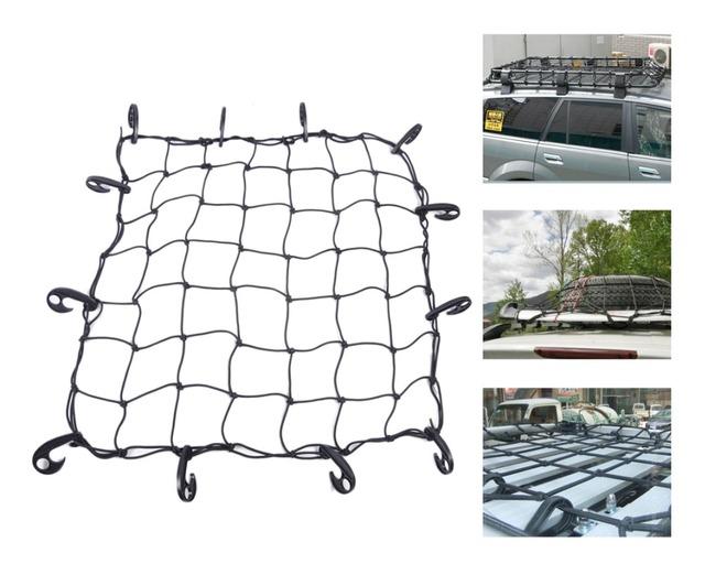Rastreamento # Universal Novo 12 Ganchos Hold Down Net Bagagem Elástica Carro SUV Truck Trailer Bungee Carga Tejadilho Basket Net 70x70 cm