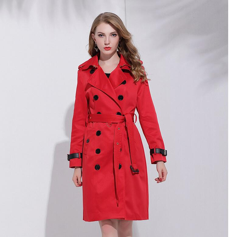 Women Fashion Double Breasted Solid Classic   Trench   E1109-006