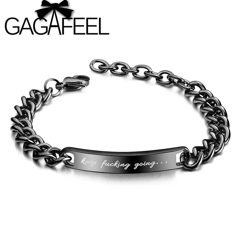GAGAFEEL Inspirational Quotes Bracelet Keep Going Stainless Steel Chain Bracelet for Her and Him Inspirational Jewelry Gift