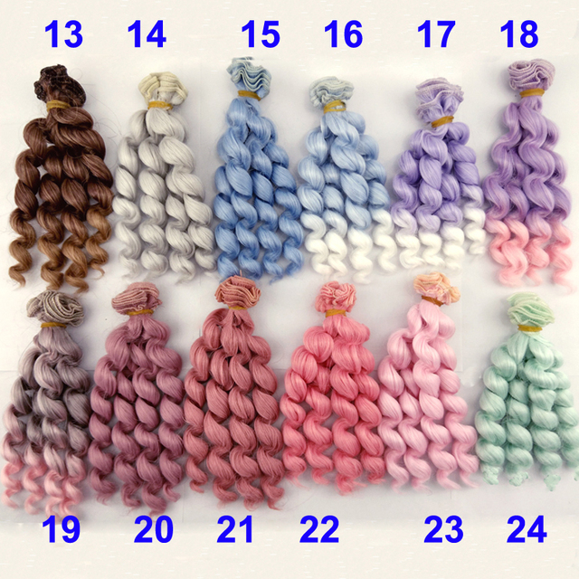 new arrival 6 or 12 pieces 15cm X 100cm brunette pink green purple grey blue color curly doll hair for 1/3 1/4 1/6 BJD SD diy