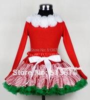 عيد الميلاد أحمر أبيض مقلم مزيج الأخضر pettiskirt مطابقة الأبيض ريدات الأحمر طويلة الأكمام أعلى MAMB04