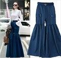 Novas Mulheres de Cintura Alta Ampla Perna Da Calça Calças Sólidos Império Azul Saia Plissada Calças Personalidade Da Moda Calças