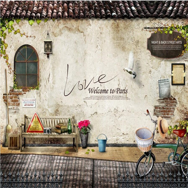 Custom Photo Wall Mural Wallpaper 3d Luxury Quality HD Nostalgic Old House Bicycle Large