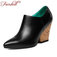 FACNDINLL Spring Women Pumps Genuine Leather Sexy High Heels Pointed Toe Shoes Woman Dress Party Office