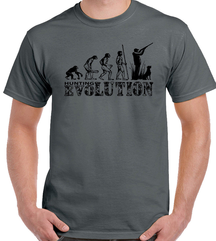 Hunt ING Evolution Mens Funny T-Shirt Hunt Hunter Clay Pigeon Shooting Target Gun New T Shirts Funny Tops Tee New Unisex Funny