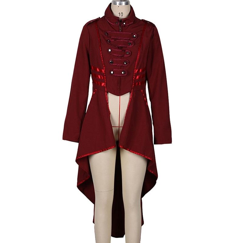 Женское готическое пальто в стиле милитари, черная панк Дамская униформа в стиле стимпанк, куртка в викторианском стиле, Тренч с высоким низом, верхняя одежда для женщин